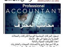 اعداد الحسابات الختامية واليومية ومتابعة حسابات للشركات والمحال التجارية