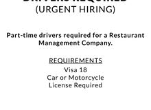 Part-time Drivers required for a Restaurant Management Company