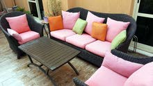 lovely strong outdoor Rattan garden set 3+1+1