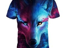 تي شيرت للجنسين 3D ستيريو الذئب
