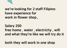 looking for 2 florist with good salary