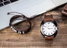 ساعة اكوارتز جذابة جلد فاخر مع سوار روماني