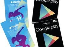 بطاقات iTunes و Google Play باسعار مناسبة