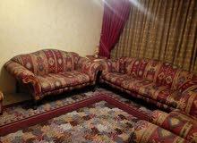 غرفة ضيوف خشب زان كامله مكمله للبيع  مع سجاده تركية وبرداي قماش امريكي