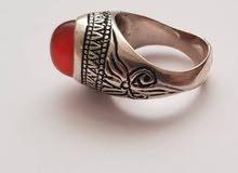 خاتم فضه بالحجر العقیق