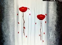 لوحة ألوان زيتي من أعمالي نمط نافر اسم اللوحة شقائق النعمان الحجم 60 ×40