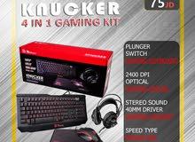 KNUCKER 4 IN 1 كيبورد وماوس وسماعة رأس وماوس باد / Gaming KIT / احترافي بأفضل الاسعار