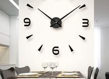 ساعة الحائط الكبيرة اللآصقة ثلاثية الأبعاد ،متوفرة الآن، شامل التوصيل للمنزل