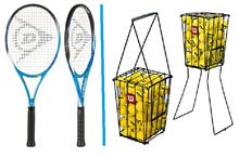 4X Tennis Rackets (Dunlop) +100 Balls & Basket (Wilson)