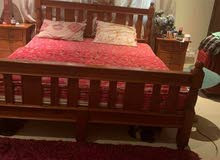 strong wooden cot  with mattress  & 2 side table
