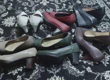 عدد 9 أحذية حريمى إستعمال بسيط لعدم قدرتى على ارتداء الكعب جلد طرى وليس بهم أى ع