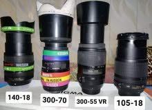 عدسات نيكون للبيع 140-18و 18-105 300-55