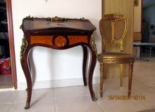DECORATIVE ANTIQUE SECRETARY DESK and CHAIR