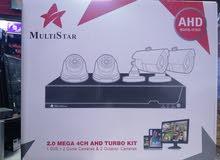 MULTISTAR DVR 2.0 mega 4 CHANAL cameras & 2 outdor 2 indor 1 tb harad