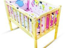 سرير اطفال مزود بكيرف هزاز+ مرتبه هديه - 4 جوانب - 2 خدديه