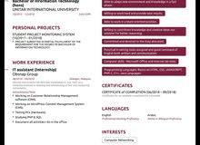 باحث عن عمل في مجال تقنية المعلومات - شبكات