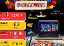 HP PAVILION NOTEBOOK ,CORE I5جيل خامس رمات 8G+ هارد 1000 شاشه 17.3 بوصه FUALL HD
