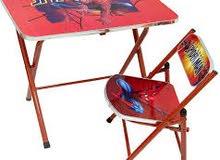 طاوله دراسه و كرسي قواعد معدنيه قابله للطي الكامل
