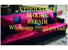 Sofa  majlish  curtains making fixing Upholstery  all kinds we Do 77713471 call