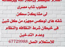 مطلوب شباب مصريين مشاركة سكن فى خيطان شقه غرفتين وصاله ومطبخ و2 حمام