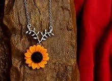 سلسة فضة إيطالي عيار 925 على شكل زهرة دوار الشمس