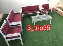 جلسة خارجية حديد صبغ ناري النقل مجاني مع طاولة زجاج او حديد