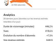 قناة يوتوب 33الف مشترك للبيع chaîne youtube
