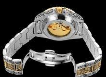 ساعة رجالي ميكانيكية فخمة مطرزة يدويا لون ذهبي عتيق وفضي