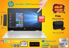 Hp Pavilion x360/8GB RAM/256 SSD أروع الأسعار للبيع لابتوب جديد للتعليم عن البعد