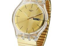 ساعة سواتش ستاتي لون ذهبي الاكثر اناقة والاخف وزن للبيع 30 دينار فقط