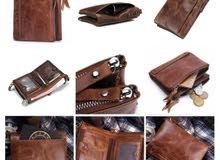 Cowhide leather wallet جزدان جلد بقر طبيعي