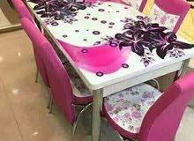 طاولات طعام 6 كراسي الوان مختلفة صنع تركي
