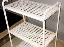 رف حديدي من ايكيا + طاولة صغيرة + مكنسة