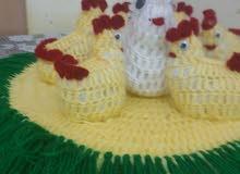 دجاجة وصيصان من الصوف عمل يدوي