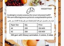 menu a4 a3