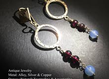 Antique Earring with natural Aquamarine and Tourmaline