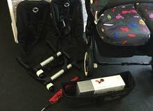 عربة أطفال بوجابو دونكي توأم سوداء بمقعد مزدوج