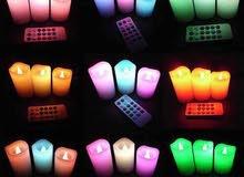 الشموع المضيئه 12 لون يمكن التحكم بها بالريموت