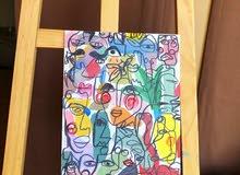 Line art acrylic painting