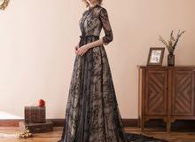 فستان سهرة خطبة اعراس اسود ابيض حجاب
