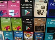 بطاقات عالميه شهيرة اي تونز و جوجل بلاي باسعار مميزة