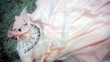 فستان زهري لون مستعمل مره واحده