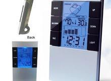 جهاز مكتبي لقياس الحرارة والرطوبة مع ساعة  Digital Temperature Humidity Meter
