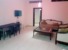 شقة غرفة وصالة مفروشة للتأجير الشهري للعزاب والعائلات شامل الكهرباء والانترنت