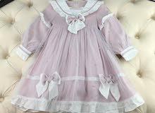 فستان اطفال للمناسبات مزين بحبات اللؤلؤ