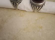 خاتمين فضة ثقيلة وحجر عقيق