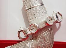 خنجر عمانية صياغة ثقيلة بقرن زراف هندي اصلي جاموس حزام فضة