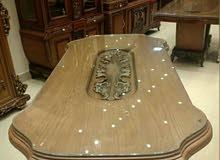 غرفة سفرة خشب زان حفر يدوي 3قطع 8كراسي مصري دمياطي ملوكي
