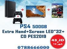 """جهاز PS4 500GB+ شاشة 32""""+ CD PES 2019 +ايد اضافية بس بقسط شهري 43 دينار"""