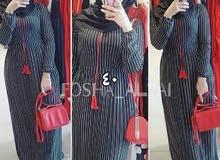 فستان مقلم خامايه فوول ليگرا متوفر بالوان اسود نيلي زيتوني ماروني القياسات L